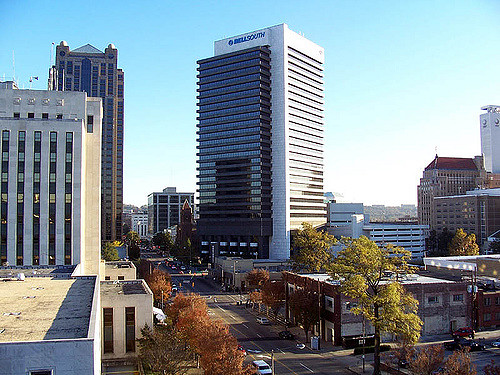 downtown skyline on north side of Birmingham